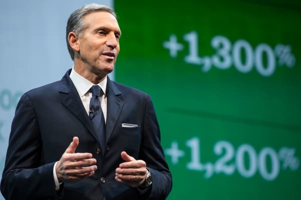 Howard Schultz, CEO of Starbucks at an annual shareholder's meeting in Seattle.