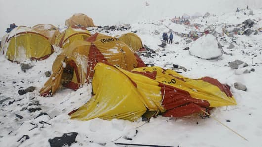 This photo provided by Azim Afif shows the scene after an avalanche triggered by a massive earthquake swept across Everest Base Camp, Nepal on Saturday, April 25, 2015. Afif and his team of four others from the Universiti Teknologi Malaysia (UTM) all survived the avalanche.