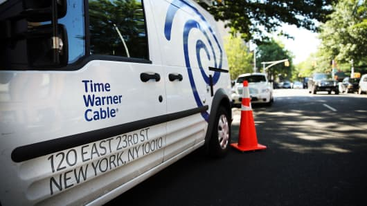 A Time Warner Cable truck is viewed in Brooklyn in New York City.