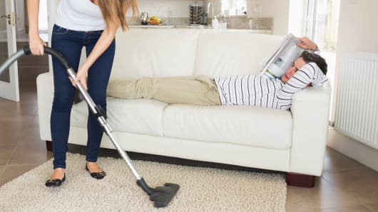 Woman housework lazy husband