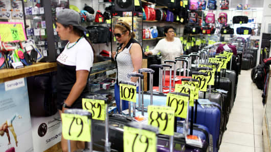 Shoppers browse in a store in Miami, Florida.