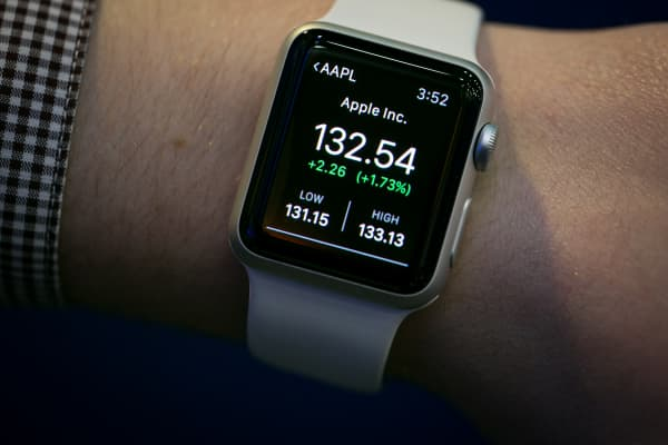 Apple stock seen on the Apple Watch ahead of reported earnings on April 27th, 2015.