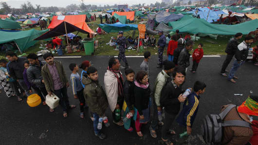 Earthquake victims stay in tents in Ratna Park, Kathmandu.