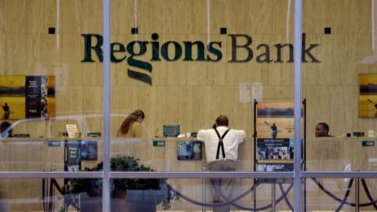 A file photo of a Regions Bank branch in Birmington, Ala.