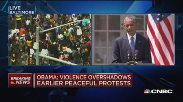 Obama: No excuse for violence in Baltimore