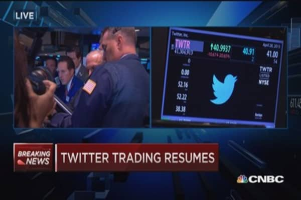 Twitter resumes trading down 20%