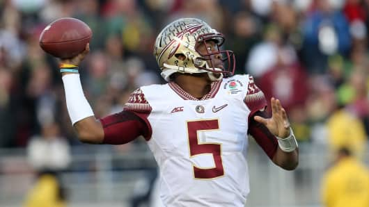 Quarterback Jameis Winston #5 of the Florida State Seminoles.