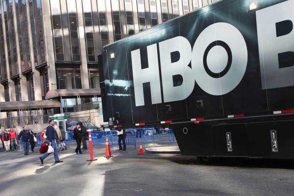 An HBO Boxing truck outside Madison Square Garden in New York.