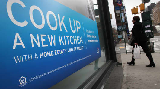 An ad for a home equity line of credit at a Citibank branch in New York