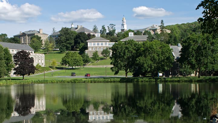 Colgate University, with Taylor Lake in the foreground, is shown in Hamilton, N.Y.
