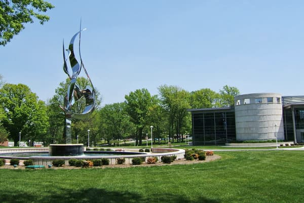 Hatfield Hall and the Flame of the Millennium statue are shown at Rose-Hulman Institute of Technology in Terre Haute, Ind.
