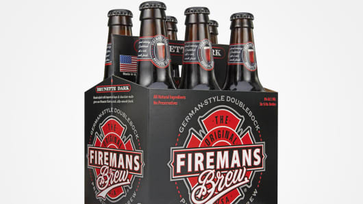 Six pack of Fireman's Brew beer