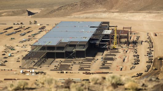 Construction of the Tesla Gigafactory just outside Reno, Nevada, as of February 18, 2015