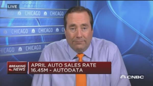 April's auto sales a little shy