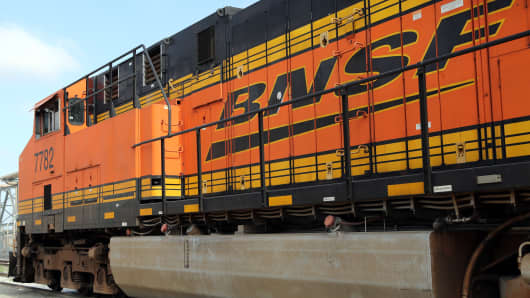 BNSF locomotive at the Port of Los Angeles. California.