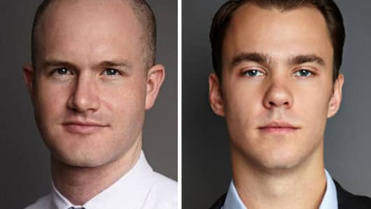 Brian Armstrong (left) and Fred Ehrsam, founders of Coinbase