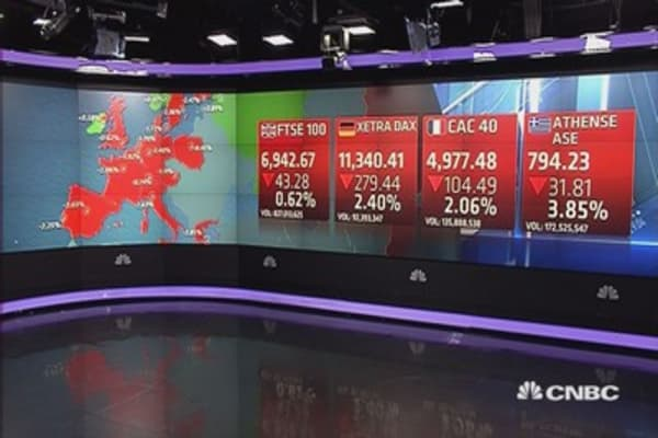 Europe ends sharply lower; UBS surges 6%