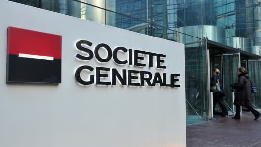 Societe Generale SA headquarters stand in Paris, France