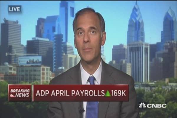 ADP April payrolls up 169K