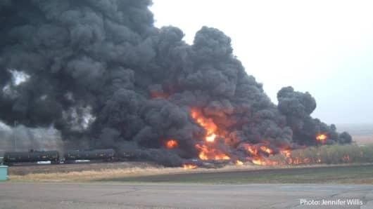 A BNSF oil train derailed near Heimdal, N.D., on May 6, 2015.