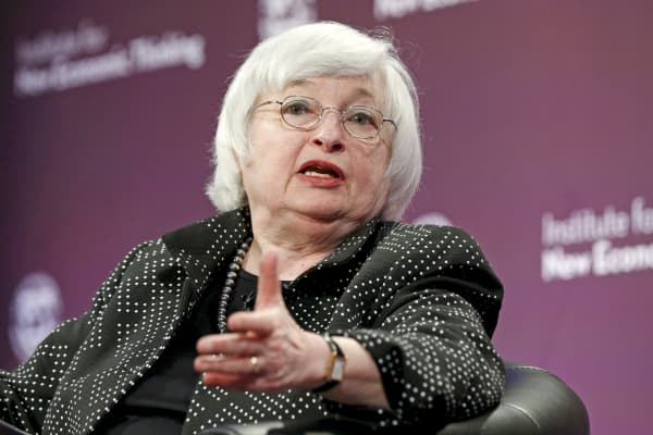 Federal Reserve Chair Janet Yellen speaks at the Institute for New Economic Thinking Conference on Finance and Society at the IMF in Washington on May 6, 2015.