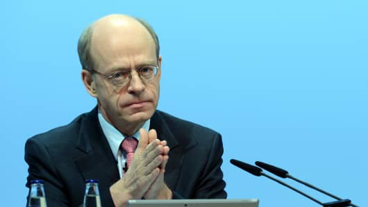 Nikolaus von Bomhard, CEO of German reinsurance giant Munich Re, is pictured during the company's annual general meeting in Munich