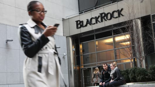 BlackRock signage above building entrance in New York.