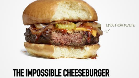 A cheeseburger by Impossible Foods made from plants.