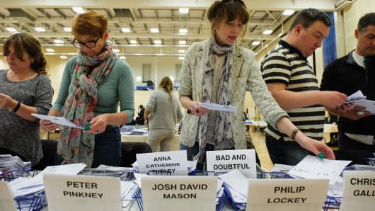 Ballot papers being counted on May 8 in Redcar, England.