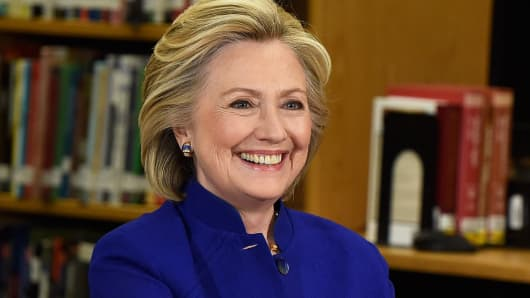 Hillary Clinton speaks at Rancho High School on May 5, 2015, in Las Vegas.