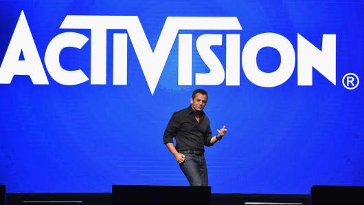 Eric Hirshberg, CEO of Activision Publishing on stage at the introduction of the All-New Guitar Hero Live game by Activision, April 14, 2015, in New York City.