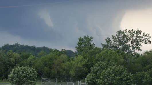 Storms move through the area near Newcastle, Okla., Wednesday, May 6, 2015. A swath of the Great Plains is under a tornado watch Wednesday, including parts of North Texas, Oklahoma, Kansas and Nebraska.