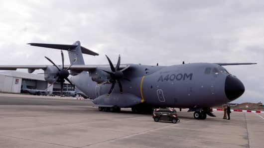 A military transport Airbus A400M on September 30, 2013, pictured in France