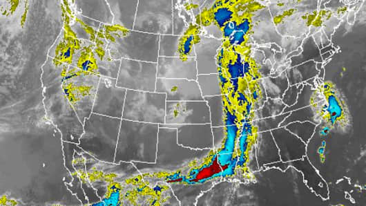 A satellite weather image taken May, 11, 2015