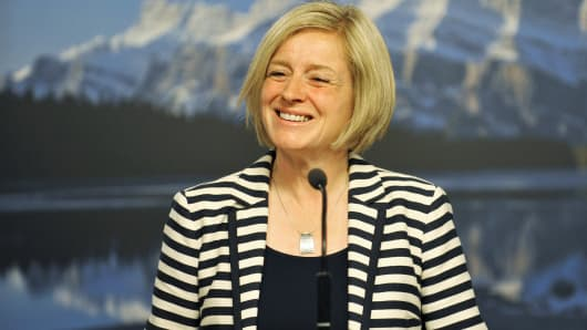 Alberta NDP leader Rachel Notley speaks at her first news conference as Premier elect in Edmonton May 6, 2015.