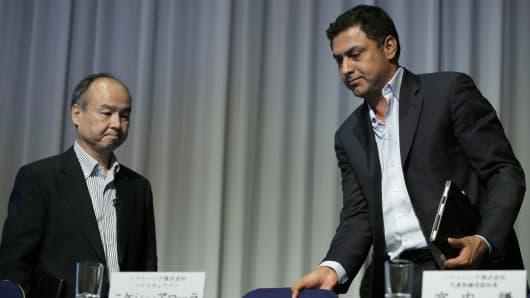 Billionaire Masayoshi Son, chairman and chief executive officer of SoftBank, and Nikesh Arora, vice chairman.