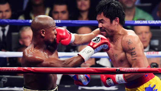 Floyd Mayweather and Manny Pacquiao during their world welterweight championship bout at MGM Grand Garden Arena, May 2, 2015.