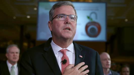 Former Florida Gov. Jeb Bush recites the Pledge of Allegiance before speaking at the Washington Marriott Wardman Park Hotel, November 20, 2014 in Washington, DC.