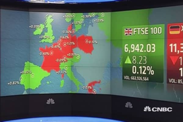 Europe ends lower after weak US data, euro zone GDP misses