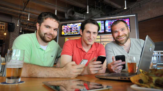 DraftKings founders (left to right) Paul Liberman, Jason Robins and Matt Kalish