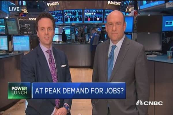 At peak demand for jobs?