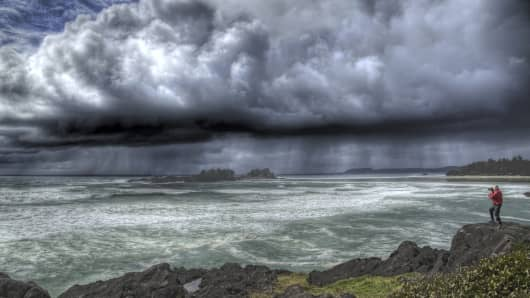 Rain pours from thunderclouds on the U.S. West Coast.