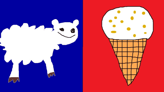"""Sheep and Hokey Pokey"" ('This design represents all of NZ because we have lots of sheep and love hokey pokey ice cream.')"