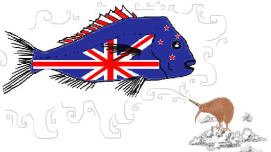 """Snapper Quota Unicorn"" ('New Zealanders are very interested in Snapper quota, and what better way to bring it to the people than this country's native bird - the Unihorned Kiwi bird.')"