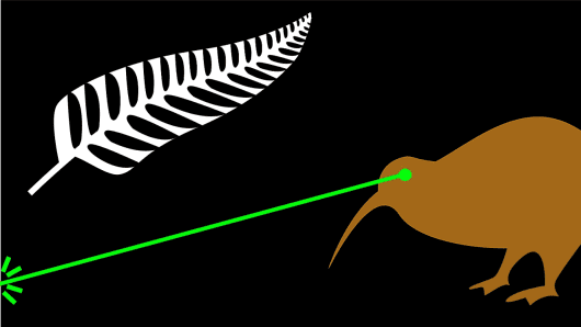 """Fire the Lazar!"" ('The laser beam projects a powerful image of New Zealand.')"