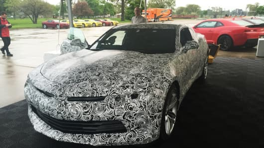 A camouflaged version of the 2016 Camaro
