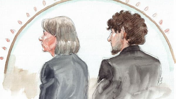 A sketch of Dzhokhar Tsarnaev (right) in court May 15, 2015.