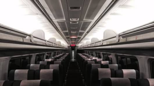 Amtrak train car on teh 5:30am from Penn Station days after a deadly derailment.