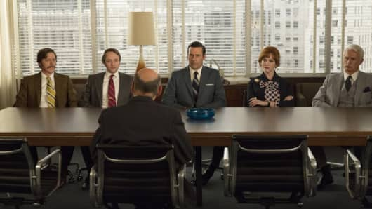 "Kevin Rahm as Ted, Vincent Kartheiser as Pete, Jon Hamm as Don, Christina Hendricks as Joan and John Slattery as Roger in ""Mad Men."""