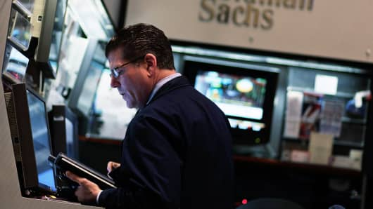 The Goldman Sachs booth on the floor of the New York Stock Exchange